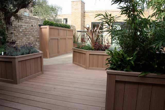 Decking boards and planters coordinate